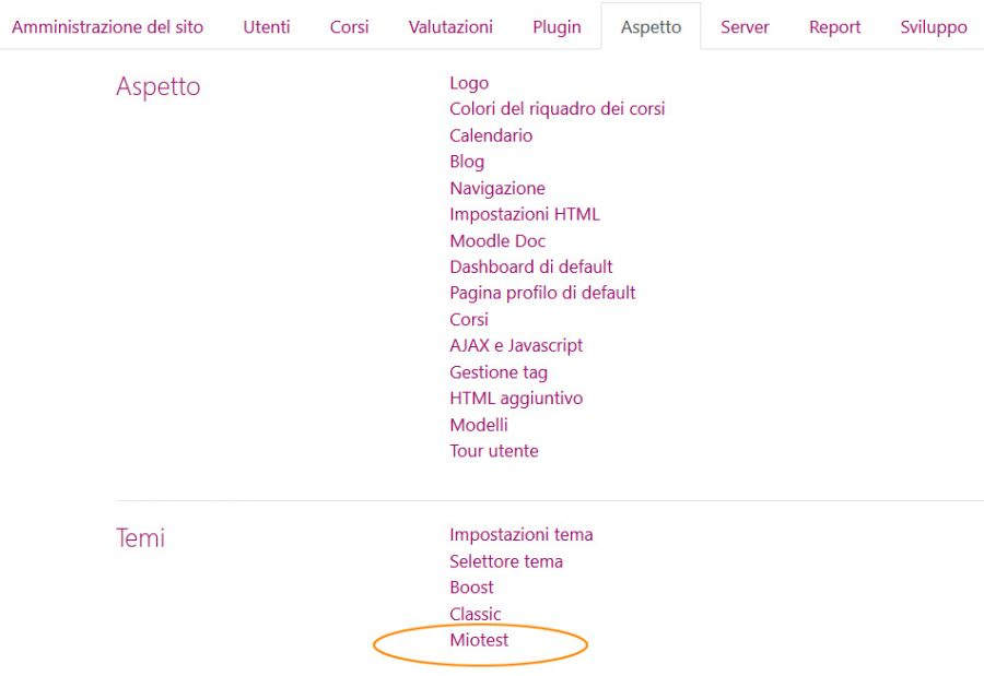 nuovo tema moodle in lista